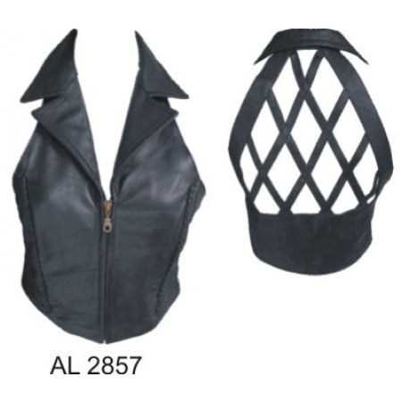 Ladies Girl Fashion Small Size Halter top with braid zipper front & Collar Lambskin Leather