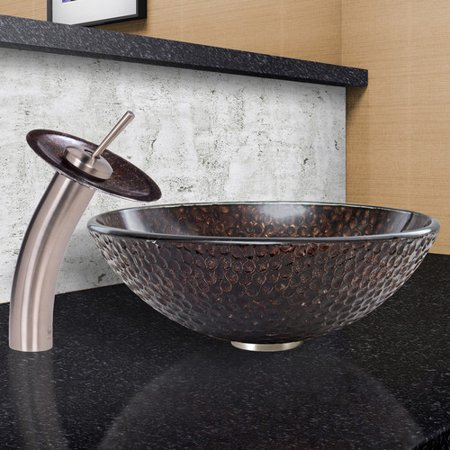 VIGO Copper Shield Glass Vessel Sink and Waterfall Faucet Set, Brushed -