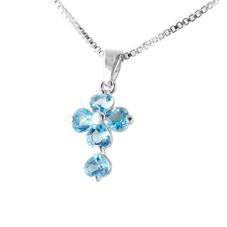 Sterling Silver Cross Birth Crystal Hearts Necklace, March Aqua Blue