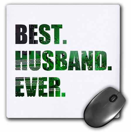 3dRose Best Husband Ever - cut out of green computer chip microchip graphic, Mouse Pad, 8 by 8