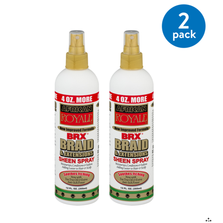 African Royale BRX Braid & Extensions Sheen Spray, 12.0 FL OZ (Pack of