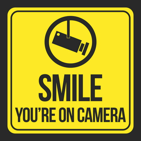 Smile You'Re On Camera Print Yellow Black Camera Picture Window School Public Office Business Signs Plastic, 12x12