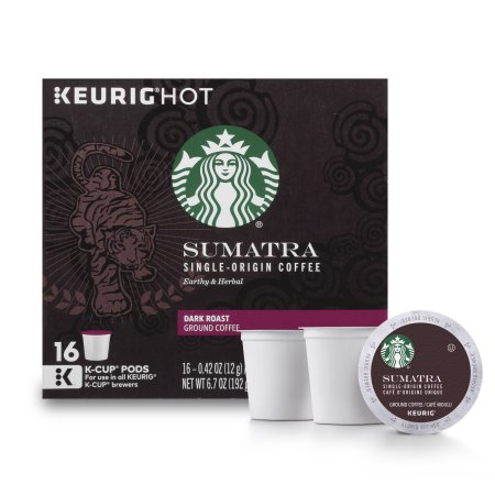 (4 Pack) Starbucks Sumatra Dark Roast Single Cup Coffee for Keurig Brewers, 1 Box of 16 (16 Total K-Cup Pods)