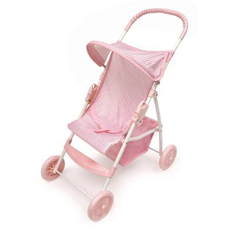 Badger Basket Folding Doll Umbrella Stroller - Pink/Gingham - Fits American Girl, My Life As & Most 18