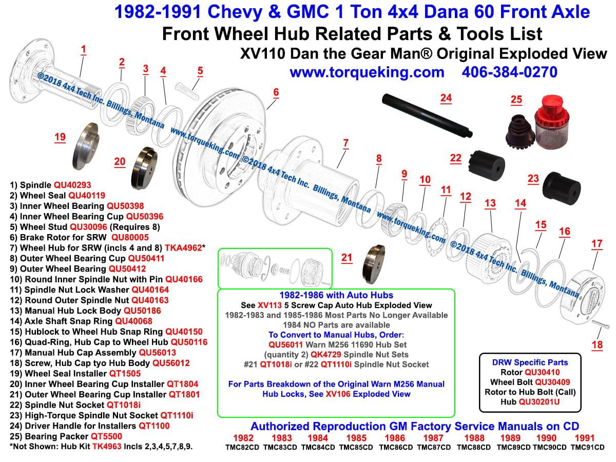 TKA4962 Splined 4x4 Front Wheel Hub for SRW Dana 60 Chevy, Dodge, GMC