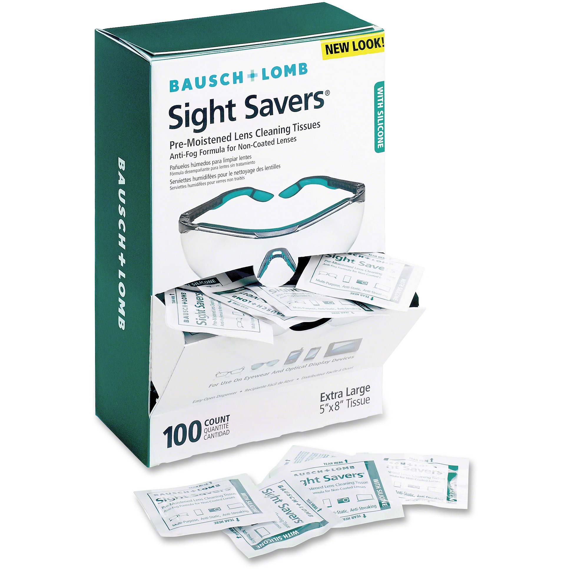 Bausch & Lomb Sight Savers Pre-Moistened Anti-Fog Tissues with Silicone, 100/Box