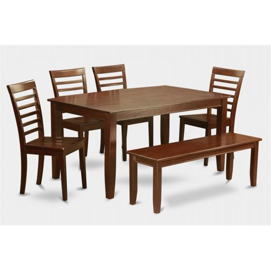 Long Dining Bench With Back: East West Furniture DUML6D-MAH-W 6 Pc Dudley Dining Table