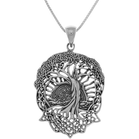 Celtic Life - Sterling Silver Celtic Tree of Life Pendant on 18 Inch Box Chain Necklace