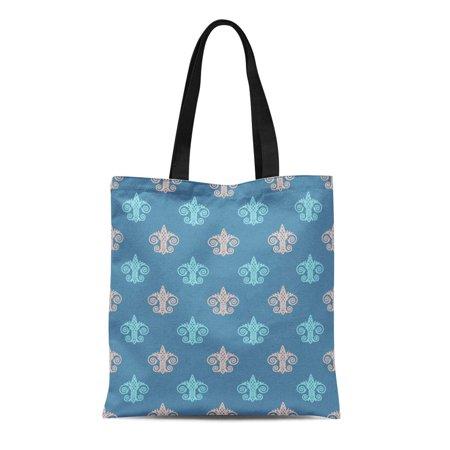 KDAGR Canvas Tote Bag Blue Abstract Fleur De Lis Pink Antique Beautiful Classic Reusable Shoulder Grocery Shopping Bags Handbag
