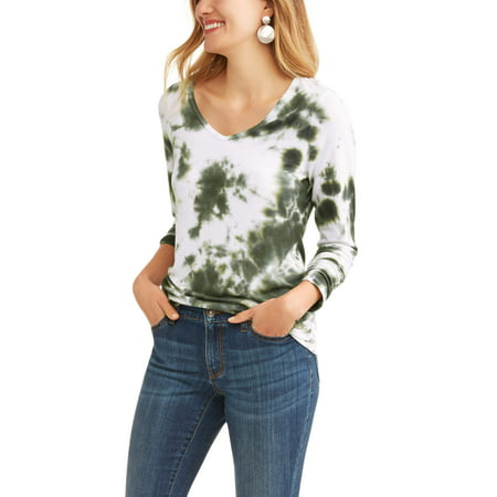 5f82644e0d Time and Tru - Women's Long Sleeve V-Neck T-Shirt - Walmart.com