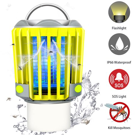 3 IN 1 Camping Lantern Tent Light Mosquito Killer - LED Flashlight Bug Zapper with 2200mAh Rechargeable Battery, IP66 Waterproof, SOS Emergency Warning Lighting ()