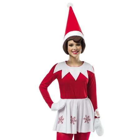 Elf On A Shelf Christmas Santa Claus Helper Female Holiday Costume-One Size ()