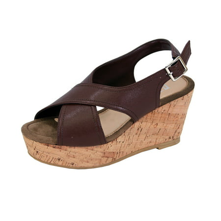 FUZZY Anya Women Extra Wide Width Platform Corkscrew Wedge High Heel Slingback