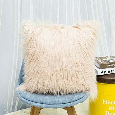 Posh Fashion - Fashion Nordic Posh Style Home Decor Super Soft Plush Mongolian Faux Fur Throw Pillow Cover Cushion Case Pillowcase Square Multi Colors