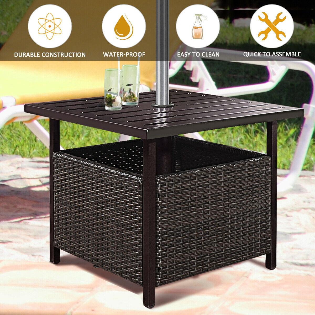 Gentil Costway Brown Rattan Wicker Steel Side Table Outdoor Furniture Deck Garden  Patio Pool