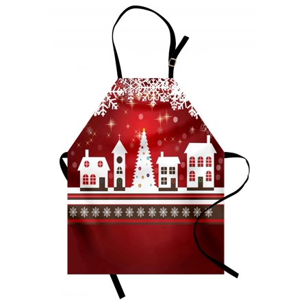 Christmas Apron Winter Holidays Theme Gingerbread House with Trees and Snowflakes Artwork Print, Unisex Kitchen Bib Apron with Adjustable Neck for Cooking Baking Gardening, Red White, by Ambesonne](Winter Holiday Themes)