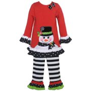 Baby Girls Red Snowman Applique Stripe 2 Pc Legging Outfit 18M