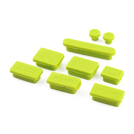 Laptop Plug Ports Cover Notebook Anti Dust Plug Set Green 9 in 1 for Macbook Pro