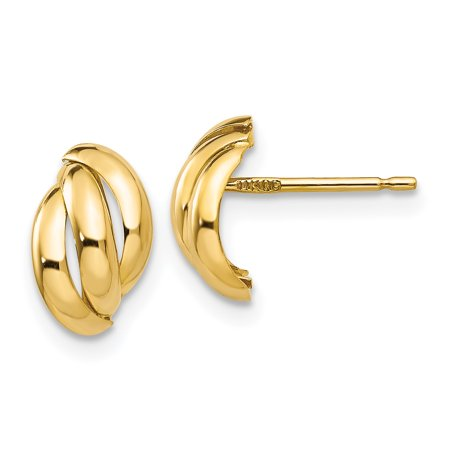 14k Yellow Gold Post Stud Earrings Ball Button