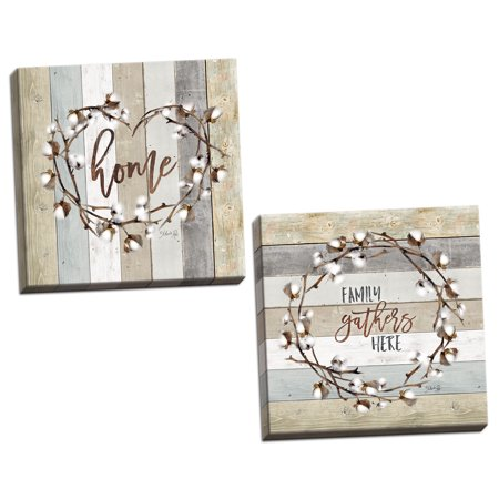 Gango Home Decor Contemporary Family Gathers Here Cotton Wreath & Home Cotton Wreath by Marla Rae (Ready to Hang); Two 12x12in Hand-Stretched (Holy Family Wreath)