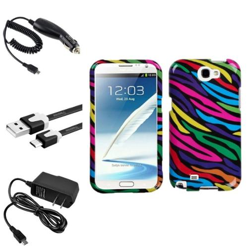 Insten Neon Zebra Hard Case+2x Charger+3x USB Cable For Samsung Galaxy Note 2 II