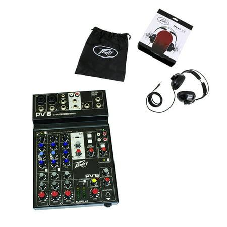 Peavey PV6 New Pro Audio DJ Live Sound 6 Channel Slim Mixer & PVH 11 (Live Sound Audio Mixer)