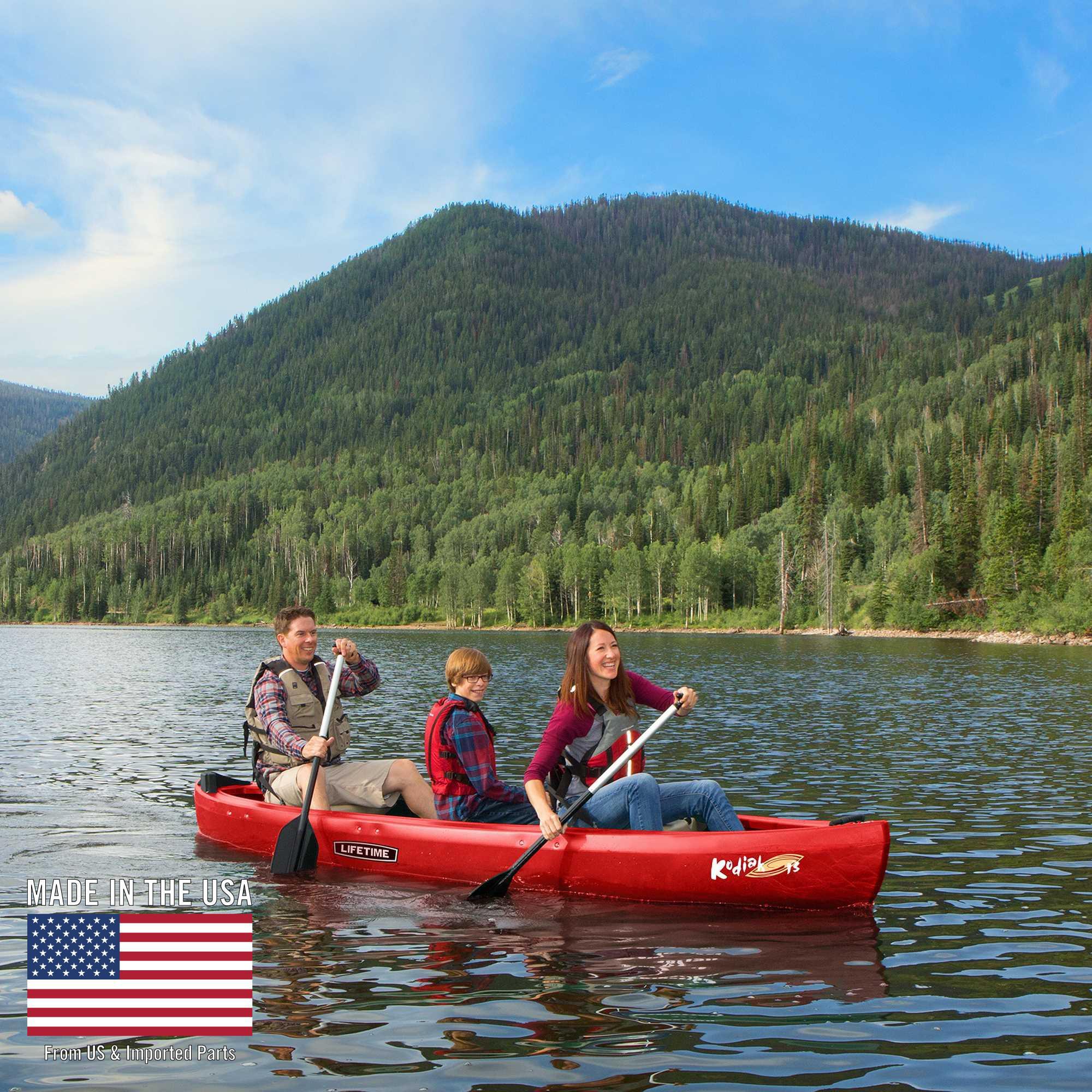 Lifetime 13' Kodiak Canoe, Red with 2 Bonus Canoe Paddles, 90658