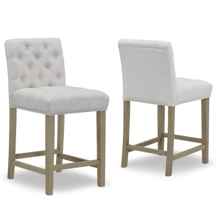 Brilliant Set Of 2 Alee Beige Fabric Counter Stool With Tufted Buttons And Wood Legs Ncnpc Chair Design For Home Ncnpcorg