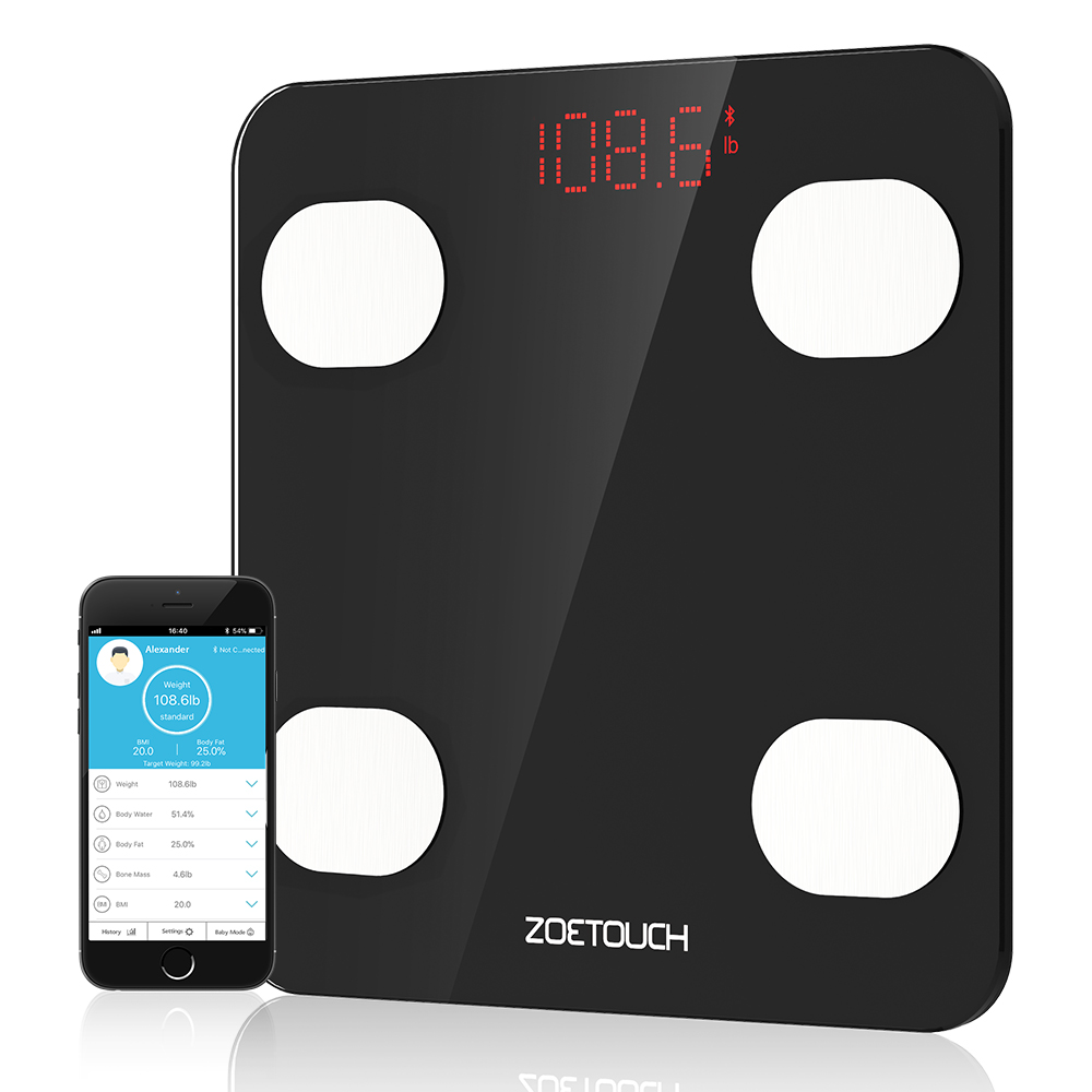 Zoetouch Weight Scale Bluetooth Body Fat Digital Smart Bathroom Wireless Scale with IOS and Android APP for Body Weight Body Fat BMI BMR Water Muscle Mass Bone Mass and Visceral Fat