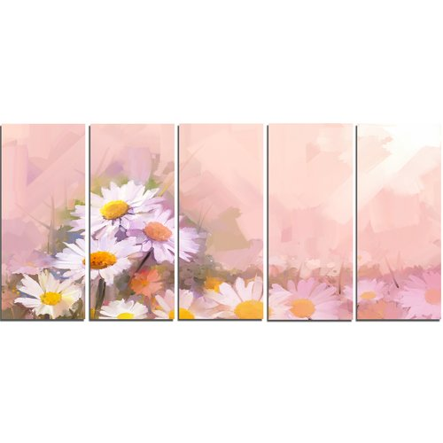 Design Art 'Gerbera Flowers on Soft Color Back' 5 Piece Painting Print on Wrapped Canvas Set