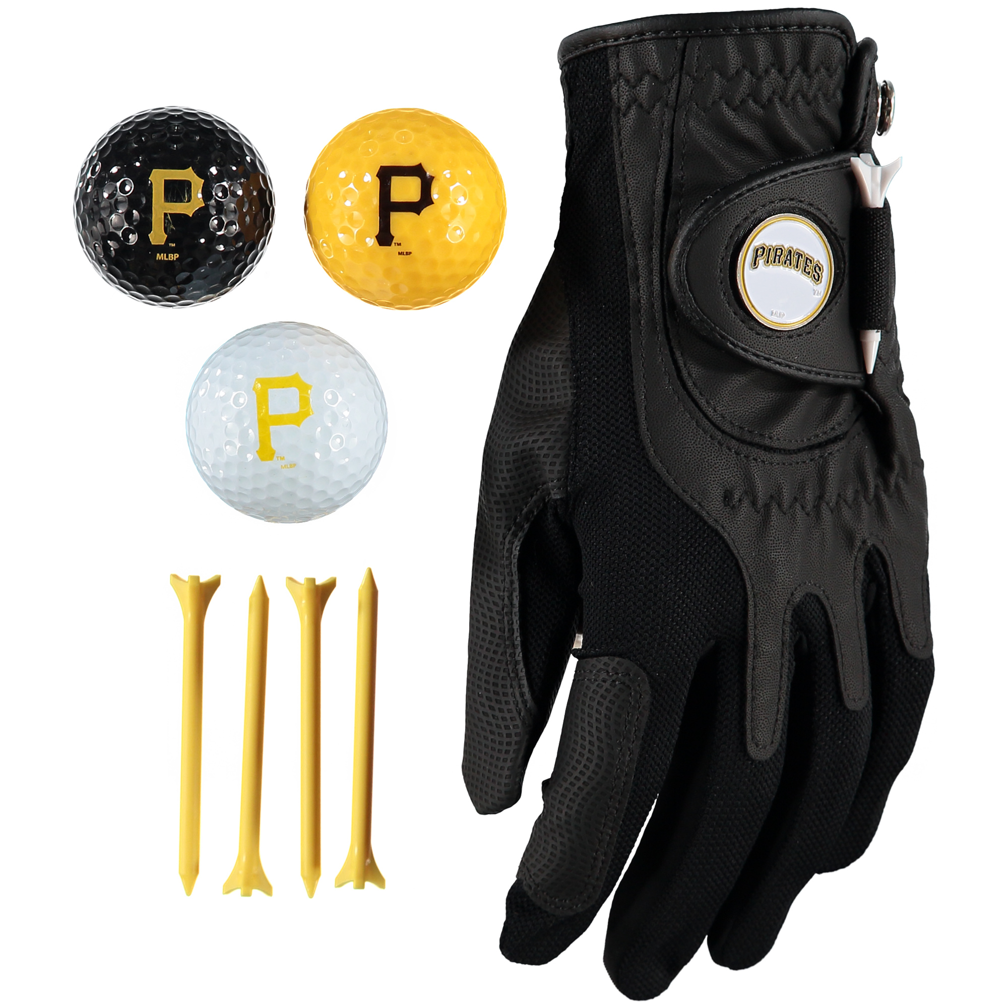 Pittsburgh Pirates Golf Balls, Tees & Glove Set - No Size