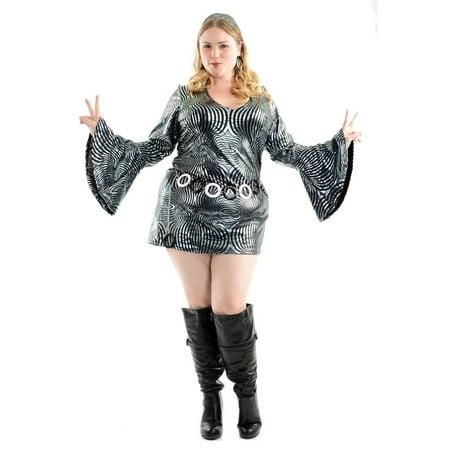 Psychedelic Disco (Halloween Psychedelic Swirl Disco Diva Women's Plus Costume)