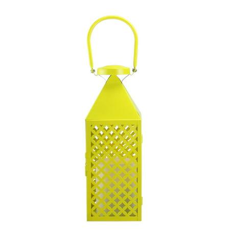 Fancy Salon jaune citron diamant pilier Patterned Bougie Lanterne 13,5\