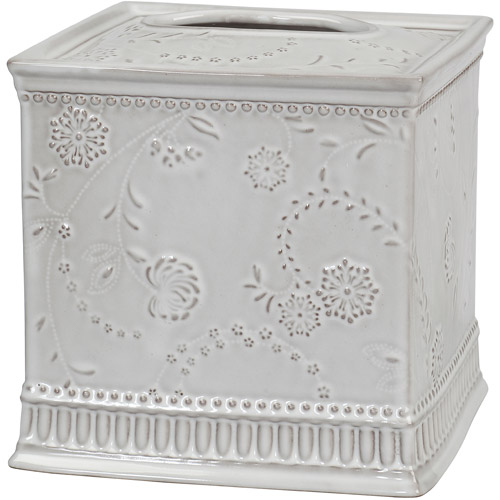 Creative Bath Eyelet Ceramic Boutique Tissue Holder, White Wash