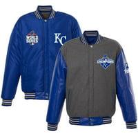 Kansas City Royals JH Design Male 2015 World Series Champions Wool PU Sleeve Reversible Jacket - Gray