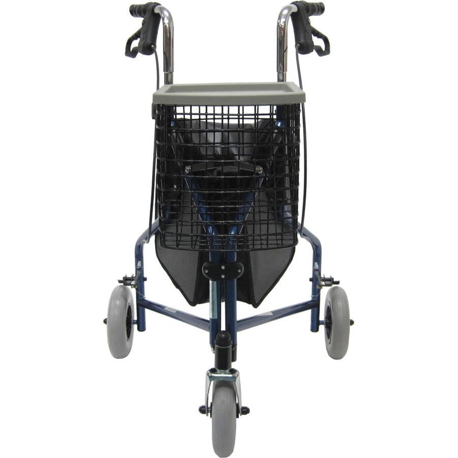 Karman R-3600 three wheel rollator with basket, and bag, Blue