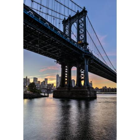 Manhattan Bridge and NYC skyline at sunset Brooklyn Bridge Park Brooklyn New York United States of America Stretched Canvas - F M Kearney  Design Pics (12 x 19)
