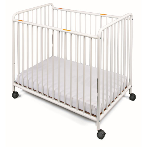 Foundations Chelsea Compact Steel Non-Folding Slatted Fixed-Side Crib, White