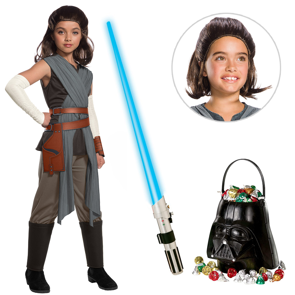 Star Wars Episode VIII: The Last Jedi - Deluxe Girl's Rey Costume with Wig and Lightsaber - Size SMALL
