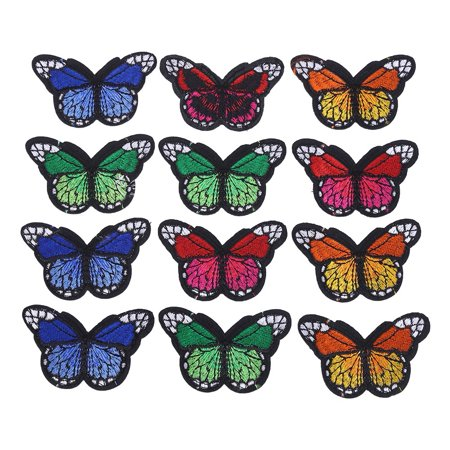 WALFRONT 12Pcs Embroidered  Butterfly Badge Clothes Hat Bag Patches Sew Iron On Bag Clothing Applique Craft DIY Decoration