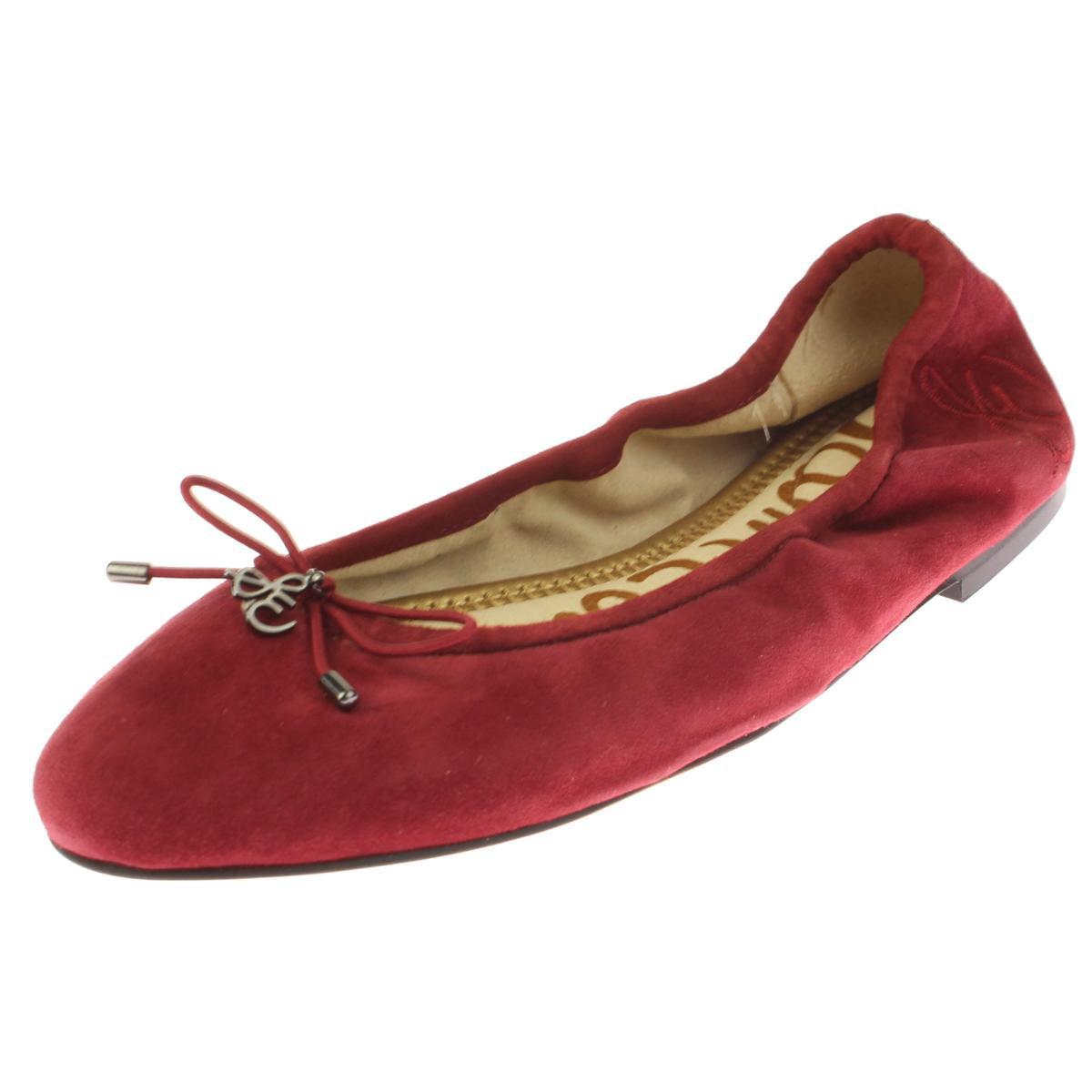 Sam Edelman Womens Felicia Suede Bow Ballet Flats