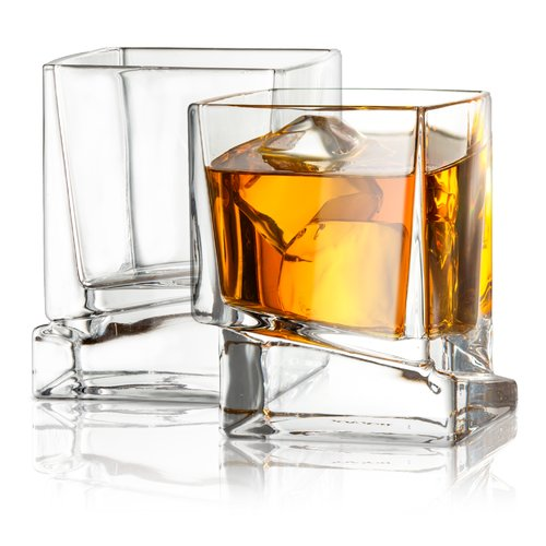 JoyJolt Carre Square Whiskey Glass 10 oz. Cocktail Glass (Set of 2) by Overstock