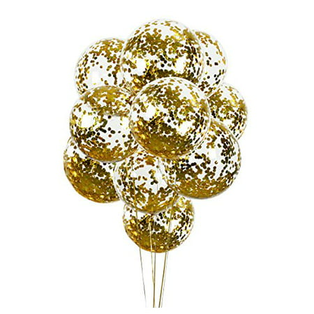10 PCS Gold Confetti Balloons Clear Round 18 inch Wedding, Birthday, Proposal Glitter Decoration - Balloons And Confetti