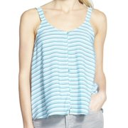 Chelsea28 NEW Blue Size Large L Junior Striped Button Front Tank Blouse
