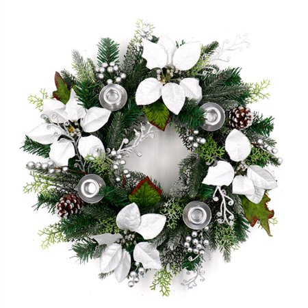 Gold Christmas Wreath.Aleko Decorative Holiday Christmas Advent Wreath With 4 Candle Holders Green And Silver