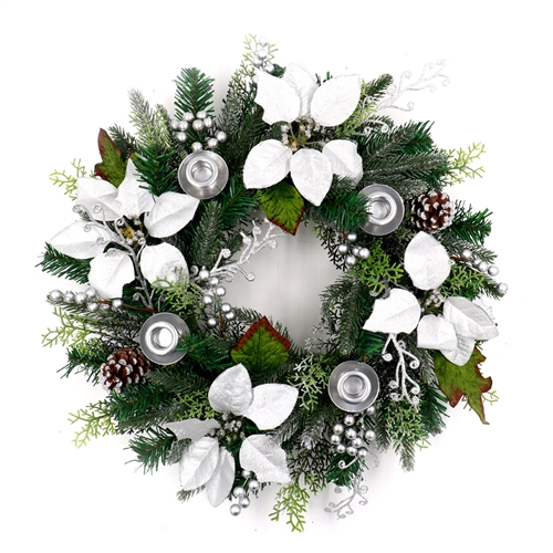 ALEKO Decorative Holiday Christmas Advent Wreath with 4 Candle Holders - Green and Silver