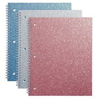 "Office Depot® Brand Glitter 3-Hole-Punched Notebook, 8"" x 10 1/2"", Wide Ruled, 160 Pages (80 Sheets), Assorted Colors"