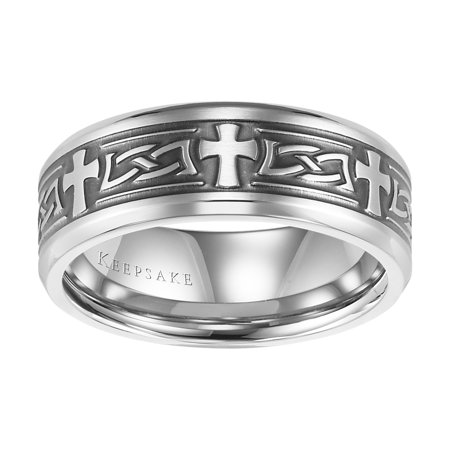 Tobias Stainless Steel Cross Band, 8mm