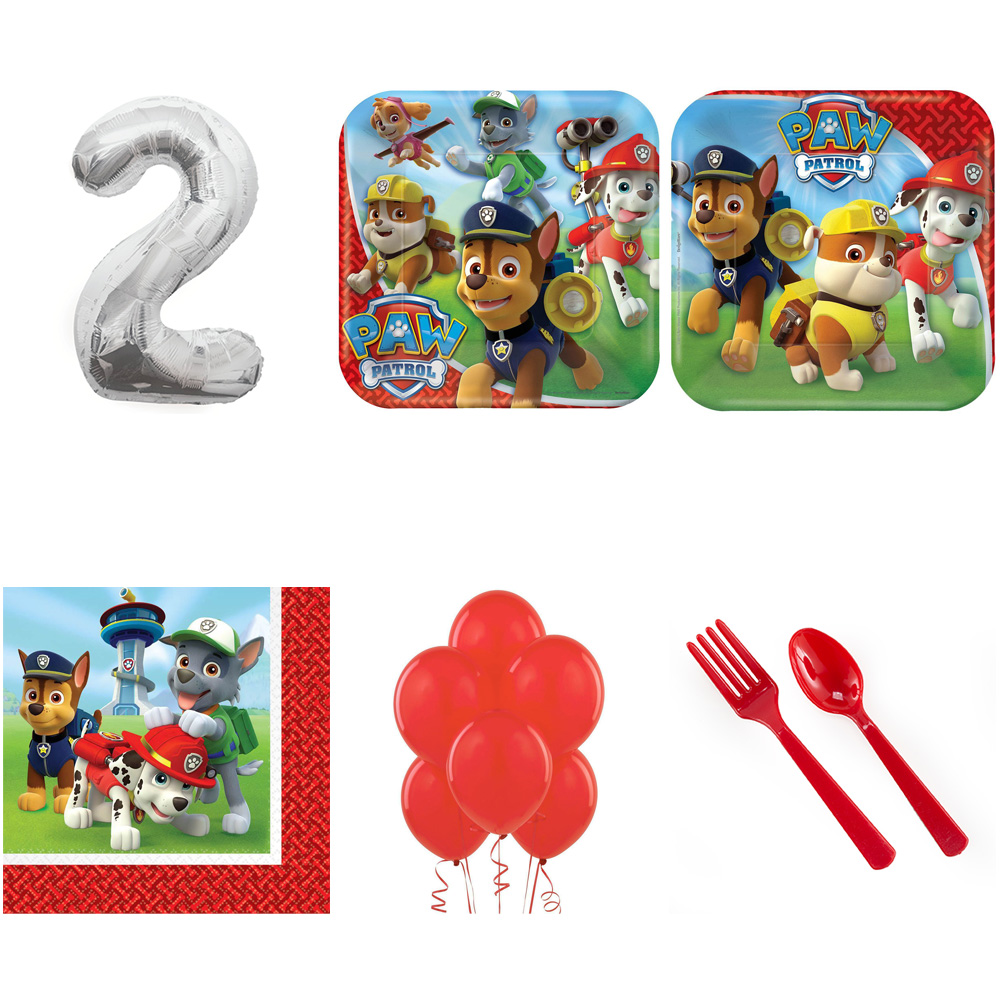 PAW PATROL PARTY SUPPLIES PARTY PACK FOR 32 WITH SILVER #2 BALLOON
