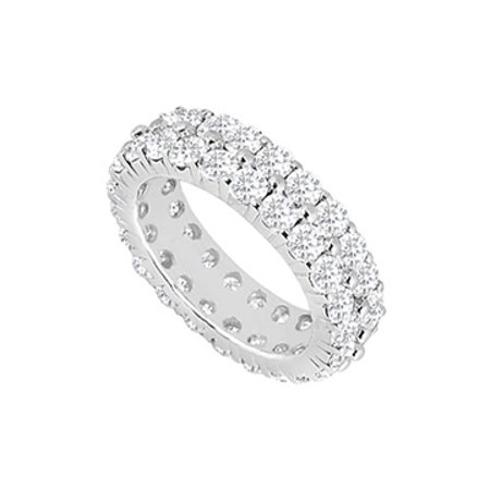 Two Row CZ Eternity Wedding Bands 8 Carat on 925 Sterling Silver Prong Setting - image 1 de 2
